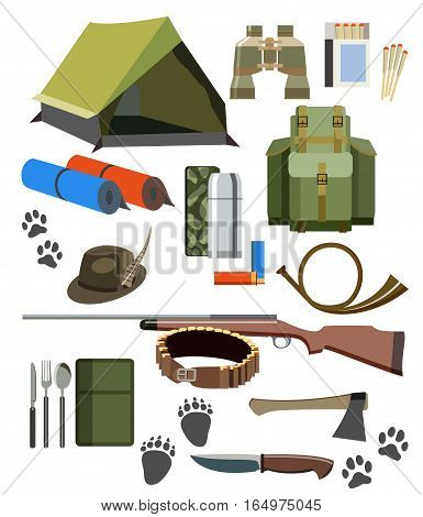 Hunting icons set of wild animals and birds.Flat color. Isolated vector illustration