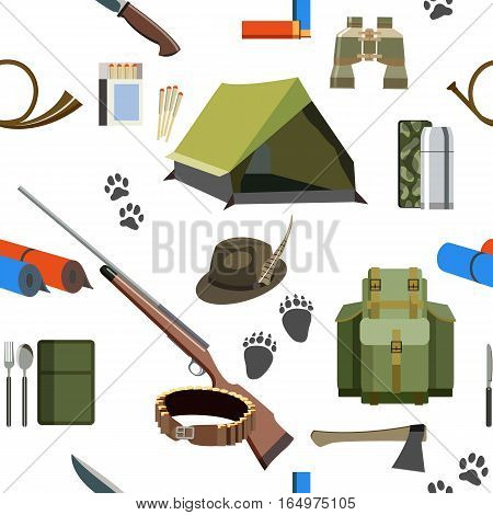 Seamless pattern on the theme of hunting: with a tent, a hunting rifle, cartridges, knife and other hunting equipment.
