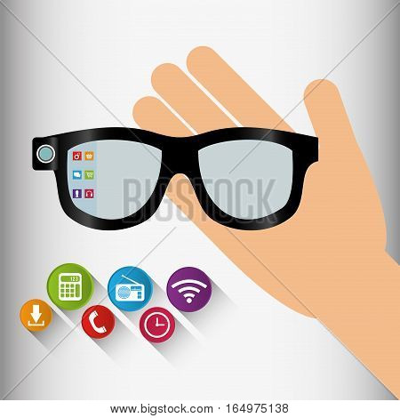 vr glasses wearable technology application shadow vector illustration eps 10