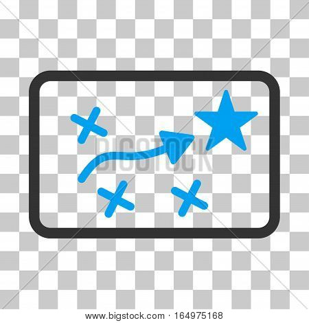 Route Plan vector pictogram. Illustration style is flat iconic bicolor blue and gray symbol on a transparent background.