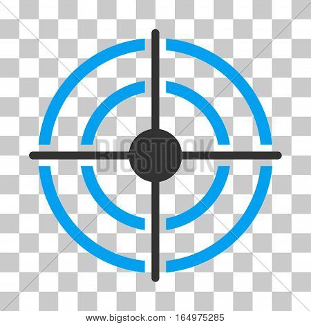 Target vector pictograph. Illustration style is flat iconic bicolor blue and gray symbol on a transparent background.