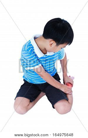 Full Body Of Child Injured At Heel. Isolated On White Background.
