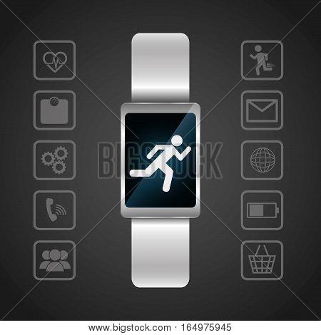 smart watch wearable technology portable dark background vector illustration eps 10