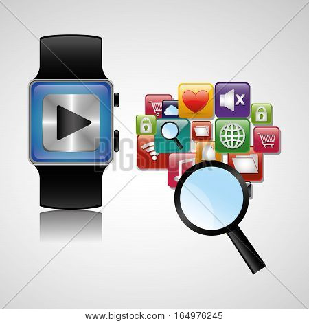 smart watch wearable technology searching play vector illustration eps 10