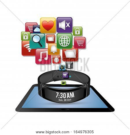 smart wristband tablet innovation digital icon vector illustration eps 10