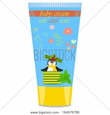 High quality original trendy vector Baby cream tube with kids design and pinguin, mint illustration
