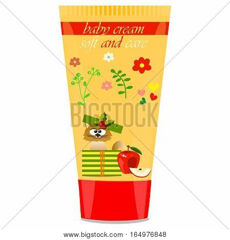 High quality original trendy vector Baby cream tube with kids design and cat, apple illustration
