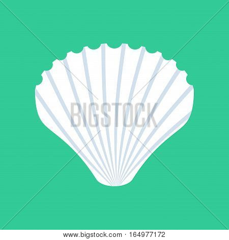Shell Isolated. White Mussels On Green Background. Seashell Nacre