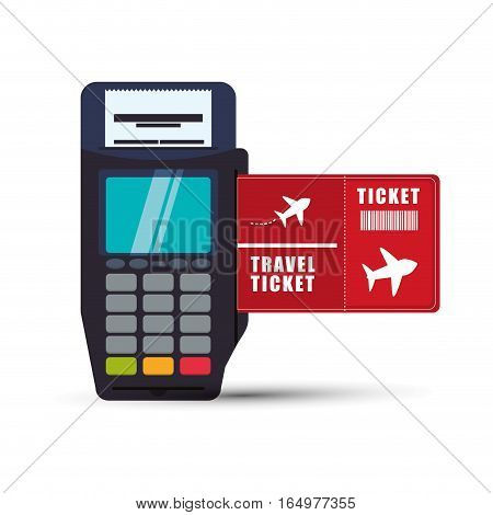 ticket travel airplane dataphone payment vector illustration eps 10