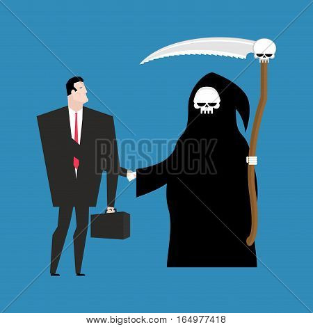 Contract With Death. Grim Reaper And Businessman Shaking Hands. Deal With Mortal