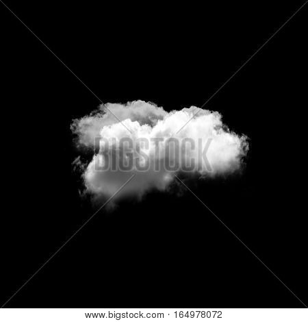 Cloud isolated over black background 3D rendering cloud shapes high resolution illustration