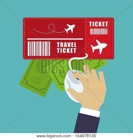 travel ticket money online tourist vetor illustration eps 10