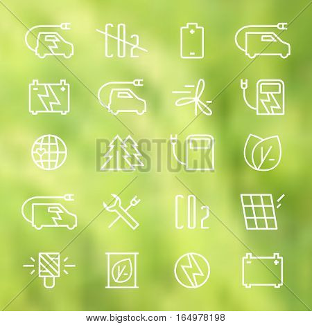 Icon set of electric car and ecology. Thin line style. White print on blurred background