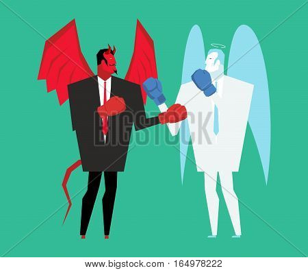 Fight Devil And Angel. Satan And God Is Boxing. Archangel And Demon Fighting