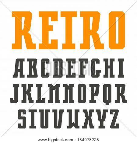 Narrow slab serif font in retro style. Isolated on white background