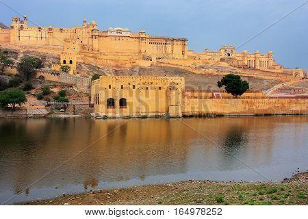 Amber Fort And Maota Lake Near Jaipur, Rajasthan, India.