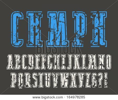 Slab serif font in college style with contour and shabby texture. Print on black background