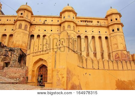 Defensive walls of Amber Fort in Rajasthan India. Amber Fort is the main tourist attraction in the Jaipur area.