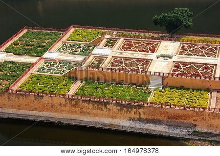 Close View Of Kesar Kyari (saffron Garden) On Maota Lake From Amber Fort, Rajasthan, India