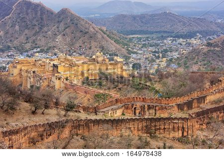 Amber Fort And Defensive Walls Of Jaigarh Fort In Rajasthan, India.