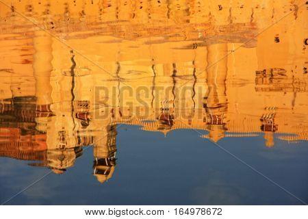 Reflection Of Amber Fort In Maota Lake Near Jaipur, Rajasthan, India