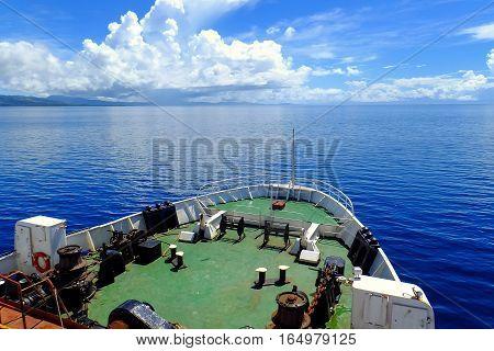 Passenger ferry crossing Somosomo Strait between Taveuni and Vanua Levu islands Fiji. Boats are very popular transportation in Fiji.