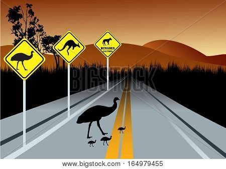 warning road signs for Australia animals beware