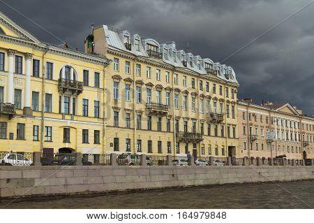 Dwelling houses on the Fontanka River. Urban architecture