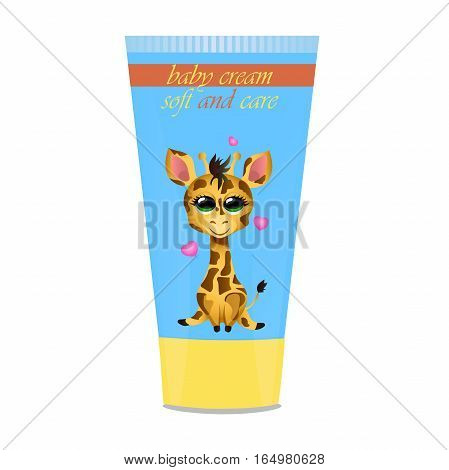 High quality original trendy vector Baby cream tube with kids design and giraffe illustration