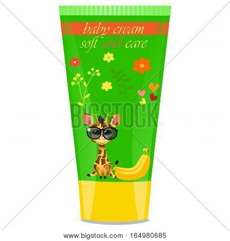 High quality original trendy vector Baby cream tube with kids design and giraffe, banana illustration