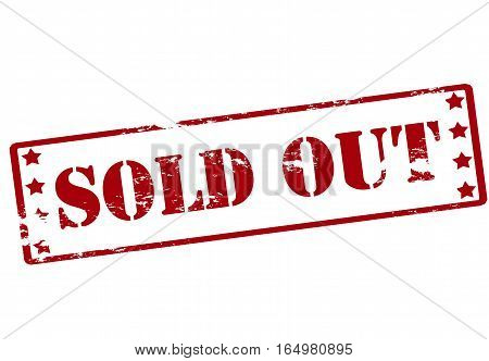 Stamp with text sold out inside vector illustration