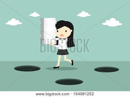 Business concept, Careless business woman is holding a lot of paper while walking. Vector illustration.