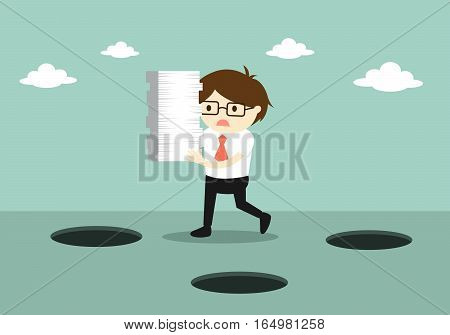 Business concept, Careless businessman is holding a lot of paper while walking. Vector illustration.