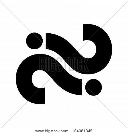 Two black question marks on white background