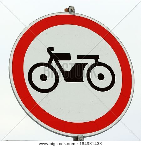 Prohibiting road sign - the Movement of motorcycles is prohibited