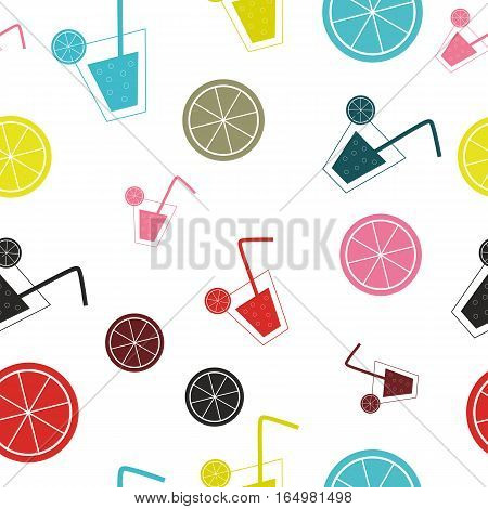 citrus Cocktail seamless pattern background vector illustration. EPS10