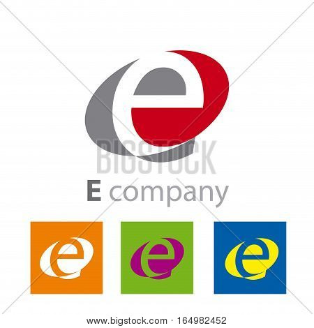 Vector Oval sign initial letter E, four logo