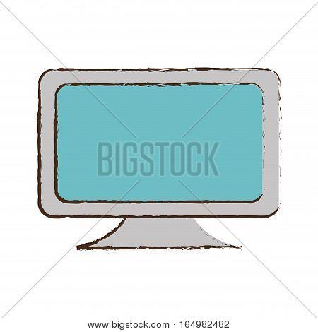 blue screen computer equipment office sketch vector illustration eps 10