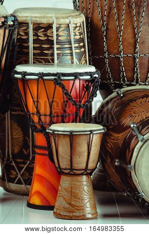 variation of ethnic drums different sizes from small to huge