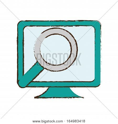 monitor search computer device sketch vector illustration eps 10