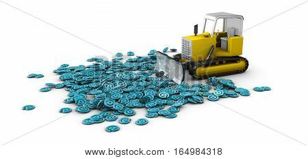 3D Illustration Of Bulldozer In Work, Creation Process Concept. Isolated White