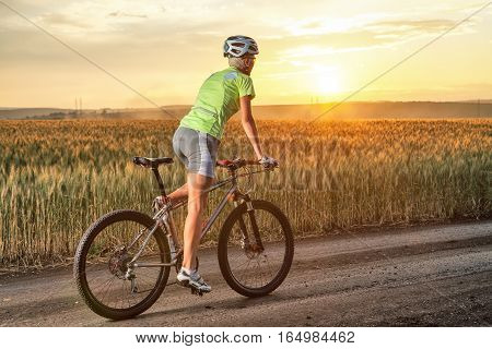 Young woman on the mountain bike. Girl riding bicycle on the road. Walk on the bike in nature. Beautiful sunset.