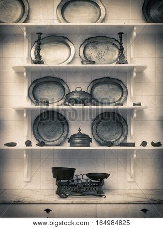 Vintage kitchen utensils and scales in the kitchen. Retro photo of kitchen utensils
