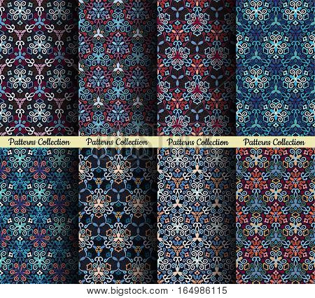 Seamless patterns. Weave blue backgrounds. Flourish ornament vector. Intricate luxury decoration. Decorative fabric print, furniture textile, wallpaper, pillow, greeting card. Interior design elements