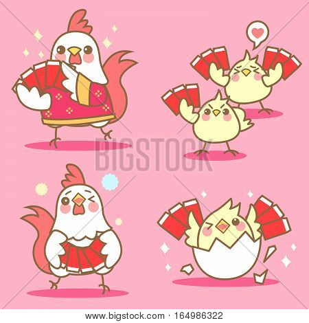 cartoon chicken with red envelopes for chinese new year
