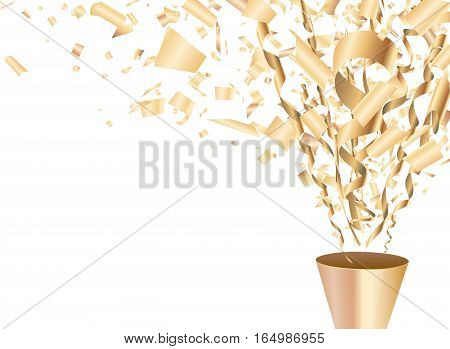 Golden exploding party popper with confetti and streamer