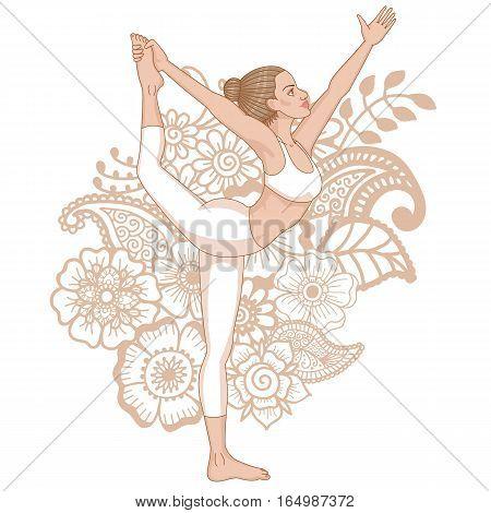 Women silhouette on paisley mehndi ormanent background. . Lord of the dance yoga pose. Natarajasana. Vector illustration