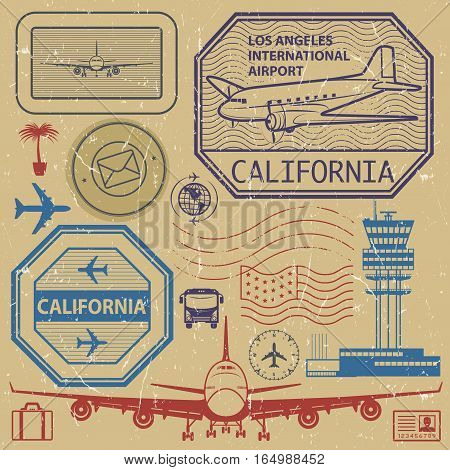 Retro postage USA airport stamps set Los Angeles California theme vector illustration