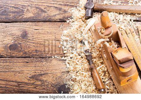 Old Tools: Wooden Planer, Hammer, Chisel