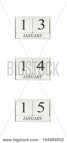 Closeup group of white wooden calendar with black 13 14 15 january word three date calendar isolated on white background